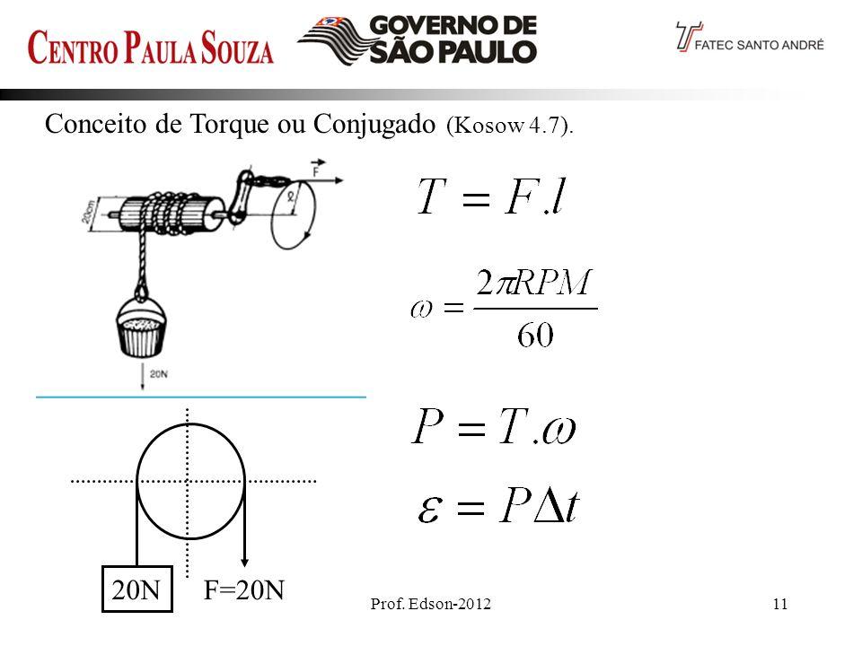 Prof. Edson-201211 Conceito de Torque ou Conjugado (Kosow 4.7). 20N F=20N