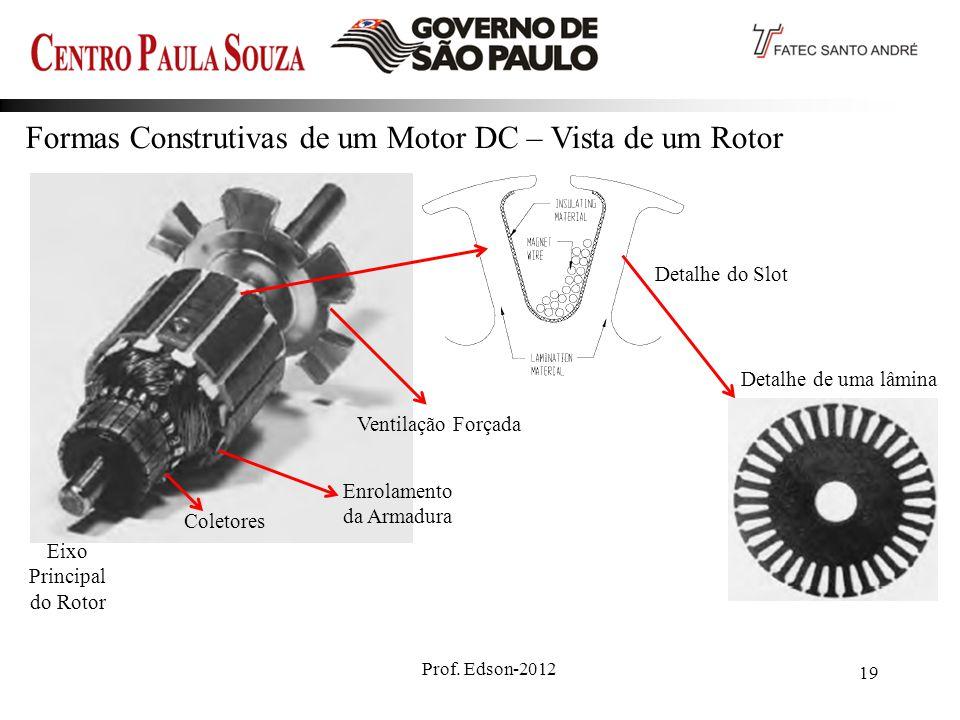 Prof. Edson-2012 19 Formas Construtivas de um Motor DC – Vista de um Rotor Ventilação Forçada Detalhe do Slot Coletores Enrolamento da Armadura Detalh