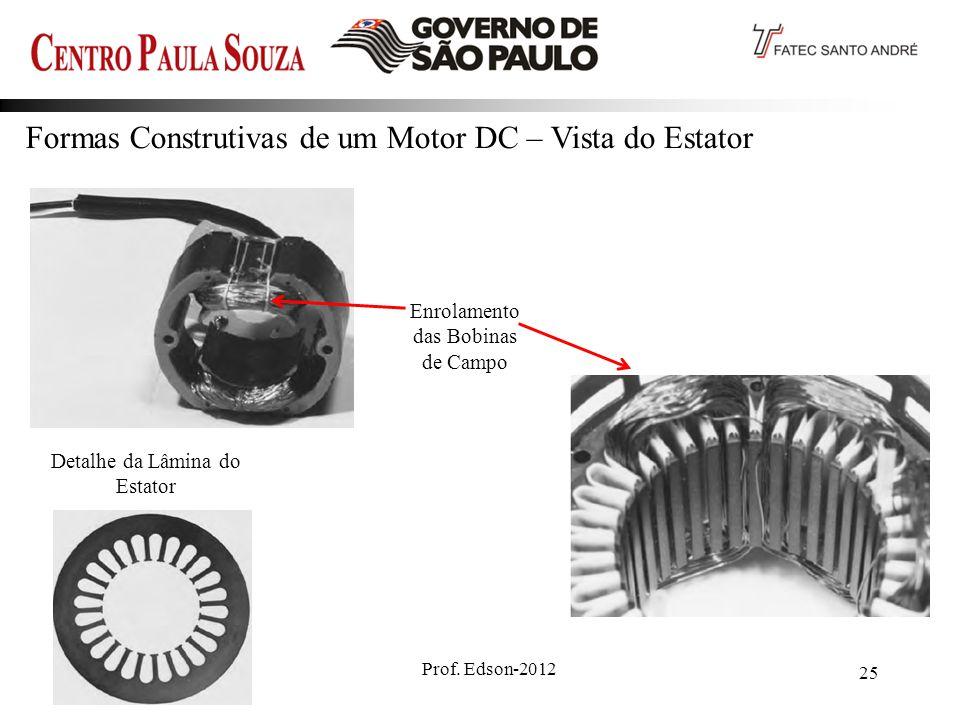 Prof. Edson-2012 25 Formas Construtivas de um Motor DC – Vista do Estator Enrolamento das Bobinas de Campo Detalhe da Lâmina do Estator