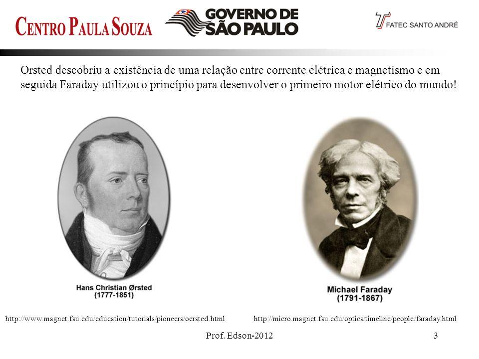 Prof. Edson-20123 Orsted descobriu a existência de uma relação entre corrente elétrica e magnetismo e em seguida Faraday utilizou o princípio para des