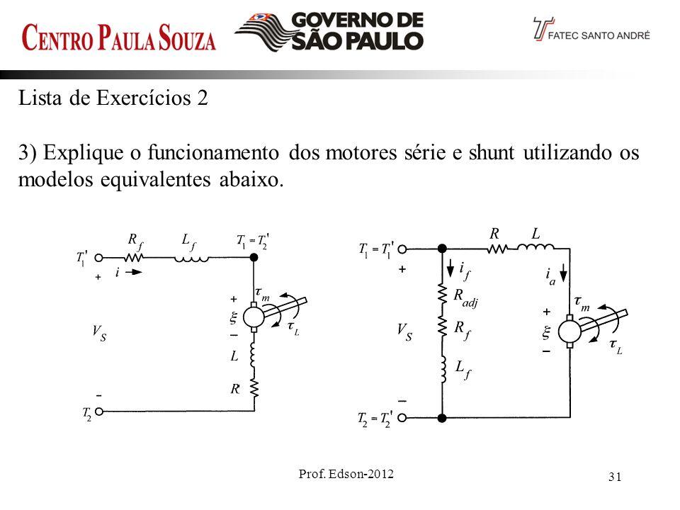 Prof. Edson-2012 31 Lista de Exercícios 2 3) Explique o funcionamento dos motores série e shunt utilizando os modelos equivalentes abaixo.