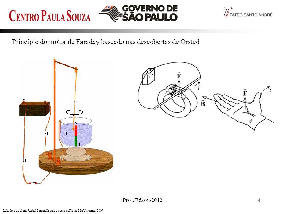 Prof. Edson-20124 Princípio do motor de Faraday baseado nas descobertas de Orsted Relatório do aluno Rafael Santarelli para o curso de Física I da Uni