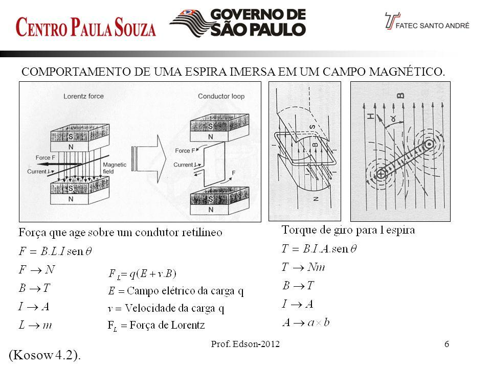 Prof. Edson-20126 COMPORTAMENTO DE UMA ESPIRA IMERSA EM UM CAMPO MAGNÉTICO. (Kosow 4.2).