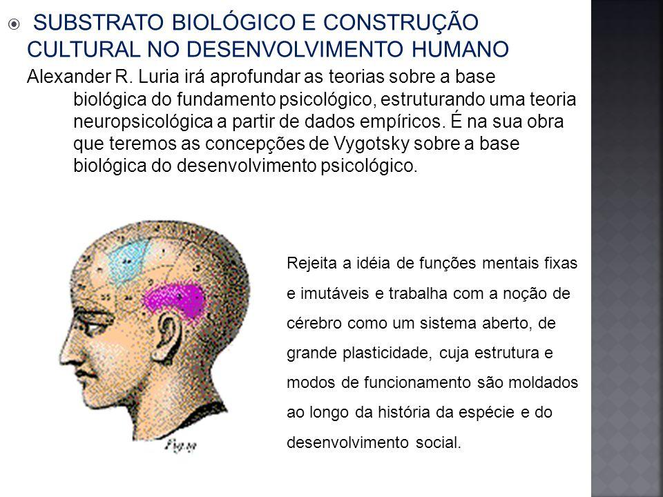 SUBSTRATO BIOLÓGICO E CONSTRUÇÃO CULTURAL NO DESENVOLVIMENTO HUMANO Alexander R.