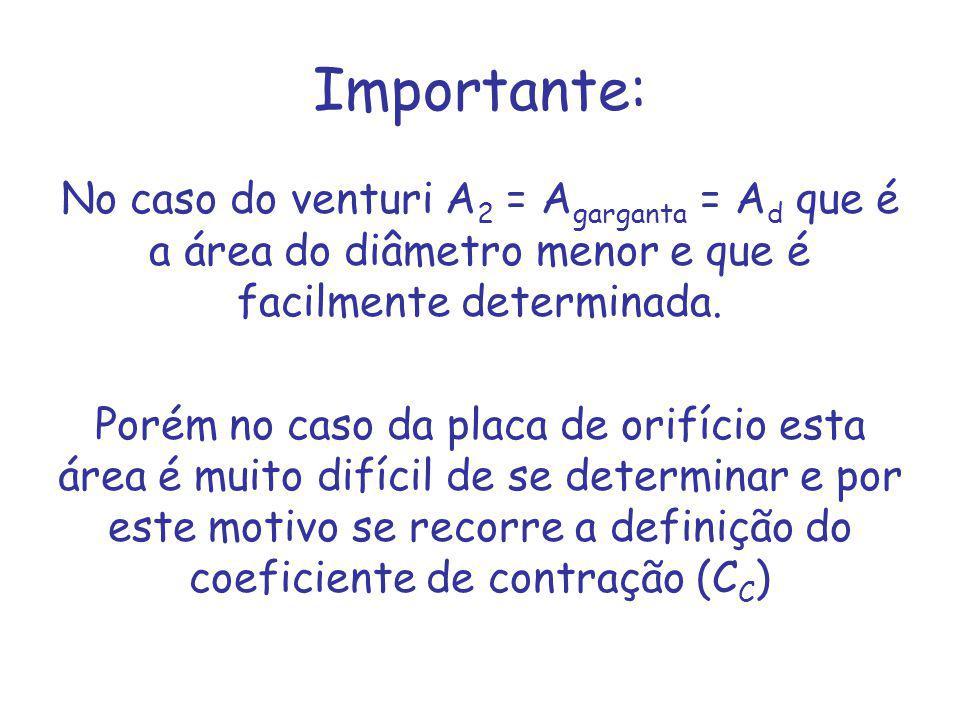 Importante: No caso do venturi A 2 = A garganta = A d que é a área do diâmetro menor e que é facilmente determinada.