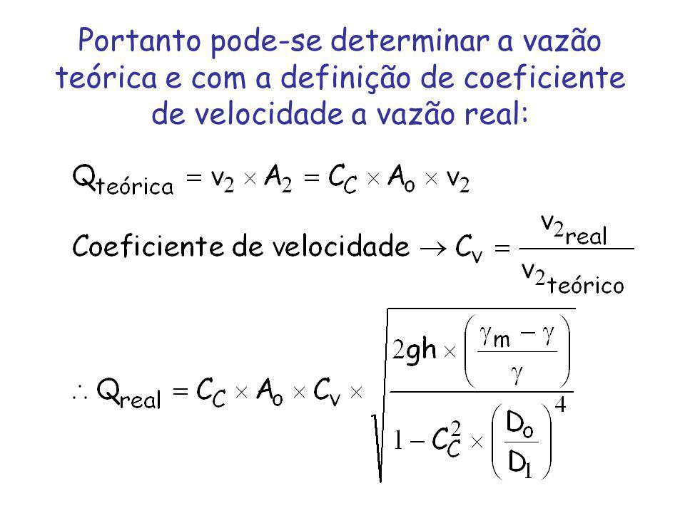 Portanto pode-se determinar a vazão teórica e com a definição de coeficiente de velocidade a vazão real:
