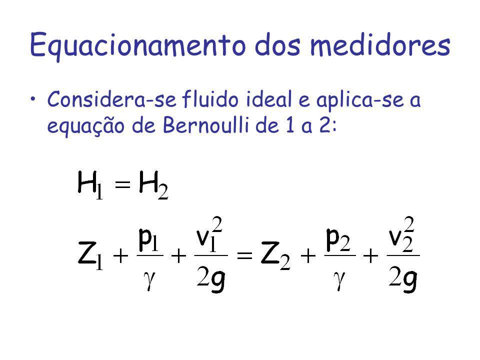 Equacionamento dos medidores Considera-se fluido ideal e aplica-se a equação de Bernoulli de 1 a 2: