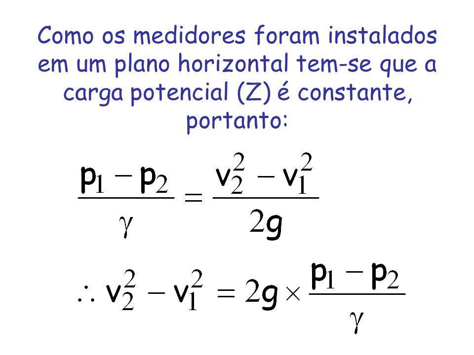 Como os medidores foram instalados em um plano horizontal tem-se que a carga potencial (Z) é constante, portanto: