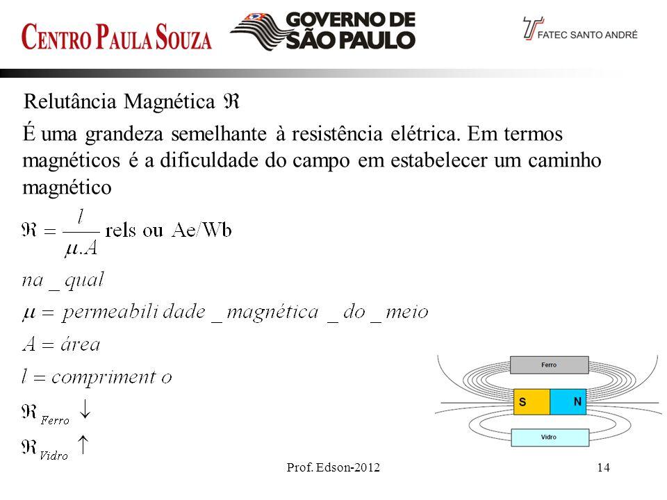 Prof.Edson-201214 Relutância Magnética É uma grandeza semelhante à resistência elétrica.