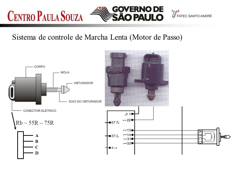 Sistema de controle de Marcha Lenta (Motor de Passo) Rb ~ 55R – 75R A D B C