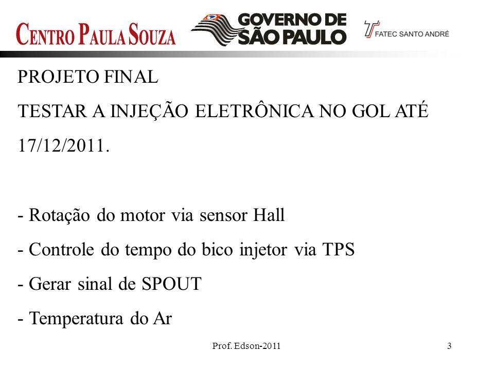 Prof. Edson-20113 PROJETO FINAL TESTAR A INJEÇÃO ELETRÔNICA NO GOL ATÉ 17/12/2011. - Rotação do motor via sensor Hall - Controle do tempo do bico inje