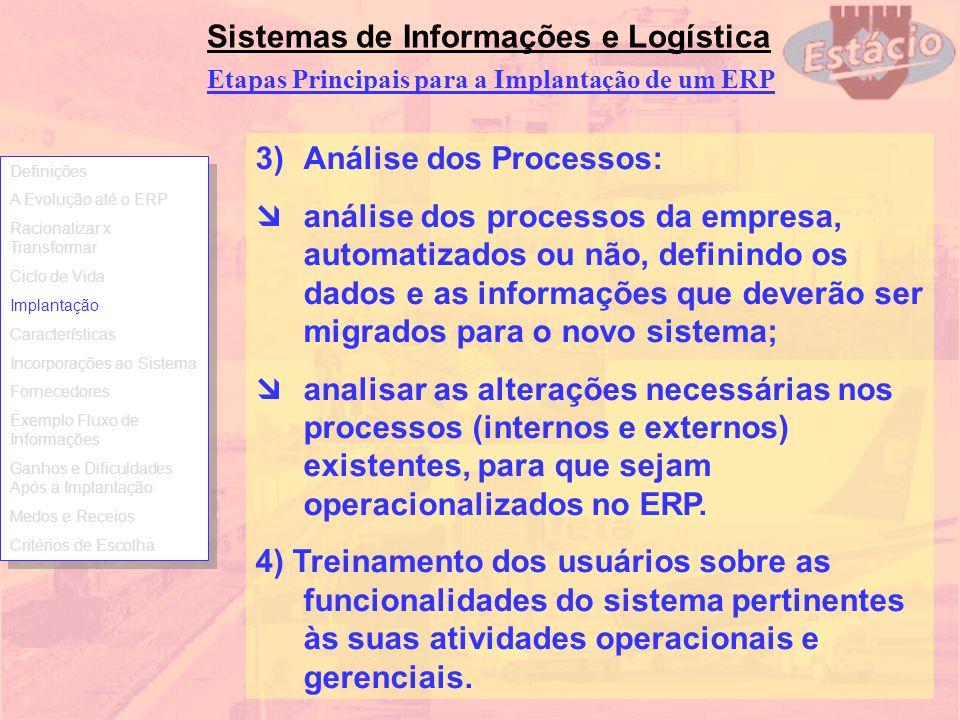Sistemas de Informações e Logística 3)Análise dos Processos: análise dos processos da empresa, automatizados ou não, definindo os dados e as informaçõ