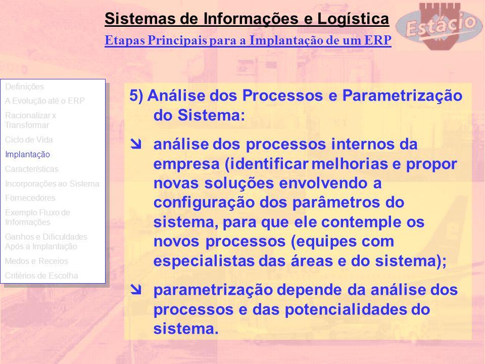 Sistemas de Informações e Logística 5) Análise dos Processos e Parametrização do Sistema: análise dos processos internos da empresa (identificar melho