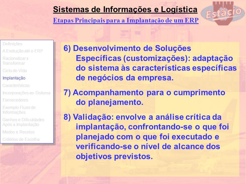 Sistemas de Informações e Logística 6) Desenvolvimento de Soluções Específicas (customizações): adaptação do sistema às características específicas de
