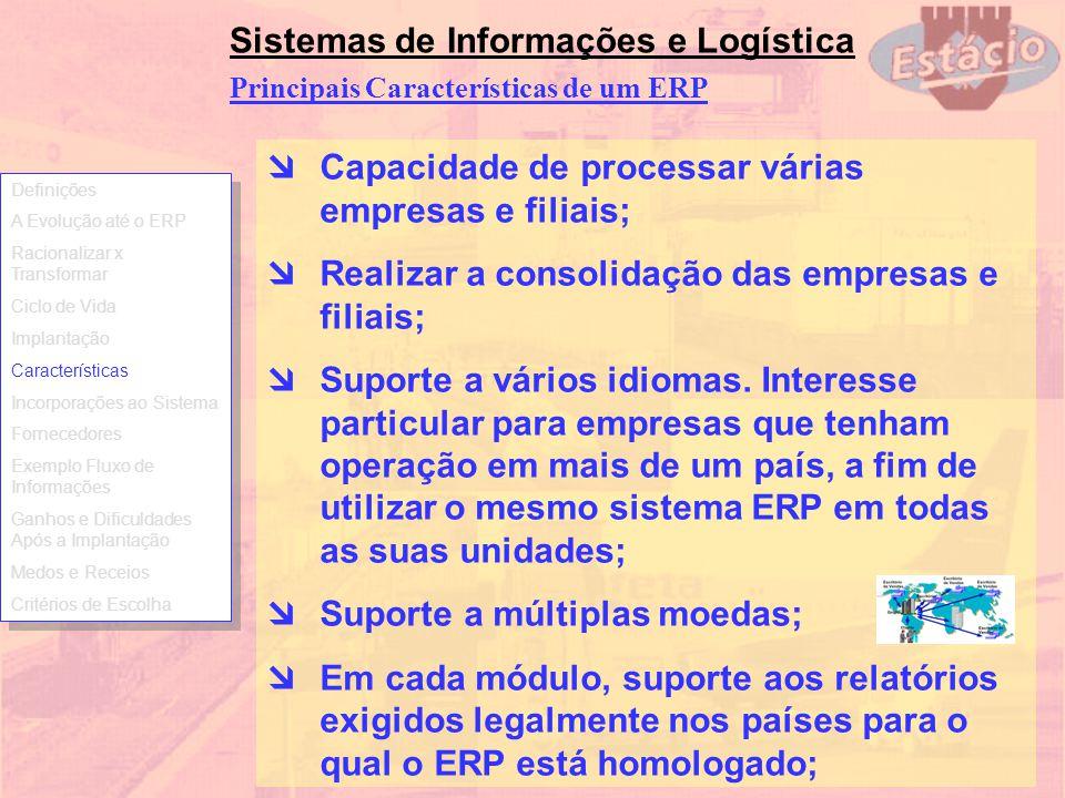 Sistemas de Informações e Logística Principais Características de um ERP Capacidade de processar várias empresas e filiais; Realizar a consolidação da