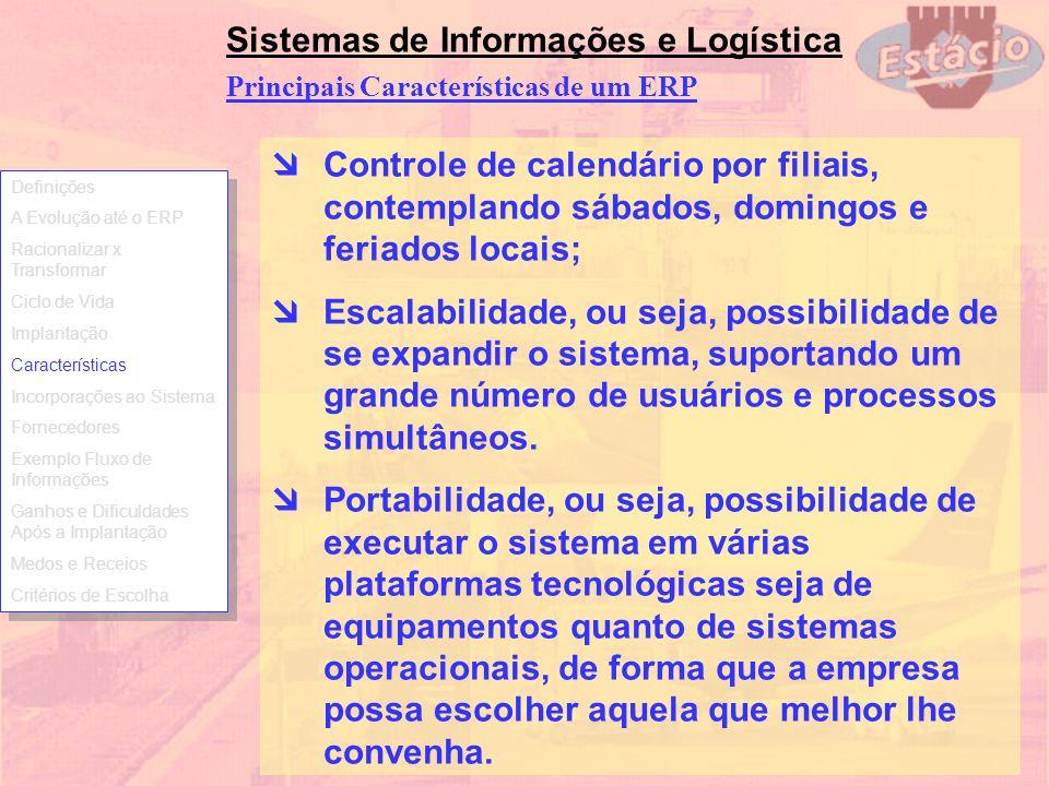 Sistemas de Informações e Logística Controle de calendário por filiais, contemplando sábados, domingos e feriados locais; Escalabilidade, ou seja, pos