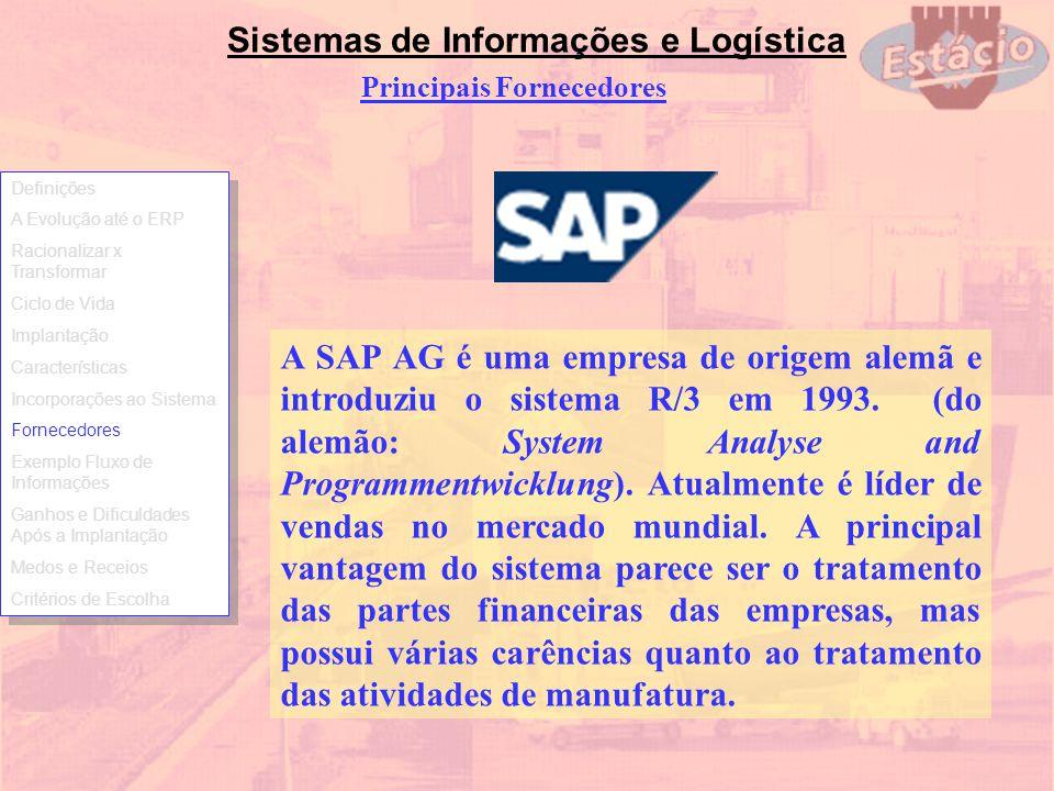 Sistemas de Informações e Logística Principais Fornecedores A SAP AG é uma empresa de origem alemã e introduziu o sistema R/3 em 1993. (do alemão: Sys