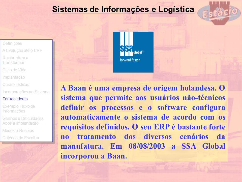 Sistemas de Informações e Logística A Baan é uma empresa de origem holandesa. O sistema que permite aos usuários não-técnicos definir os processos e o