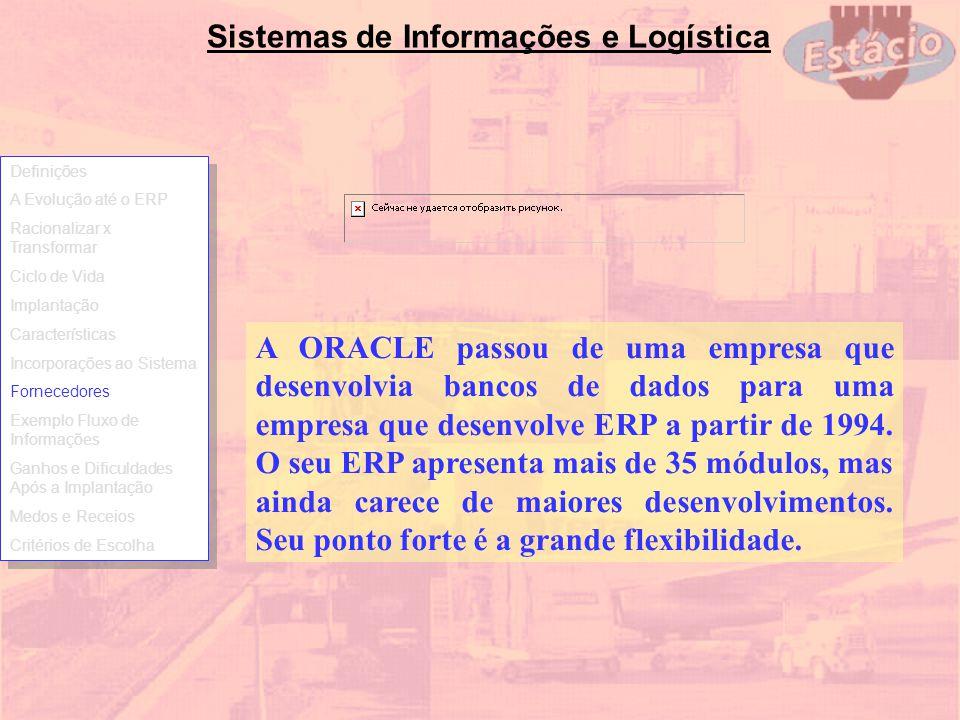 Sistemas de Informações e Logística A ORACLE passou de uma empresa que desenvolvia bancos de dados para uma empresa que desenvolve ERP a partir de 199