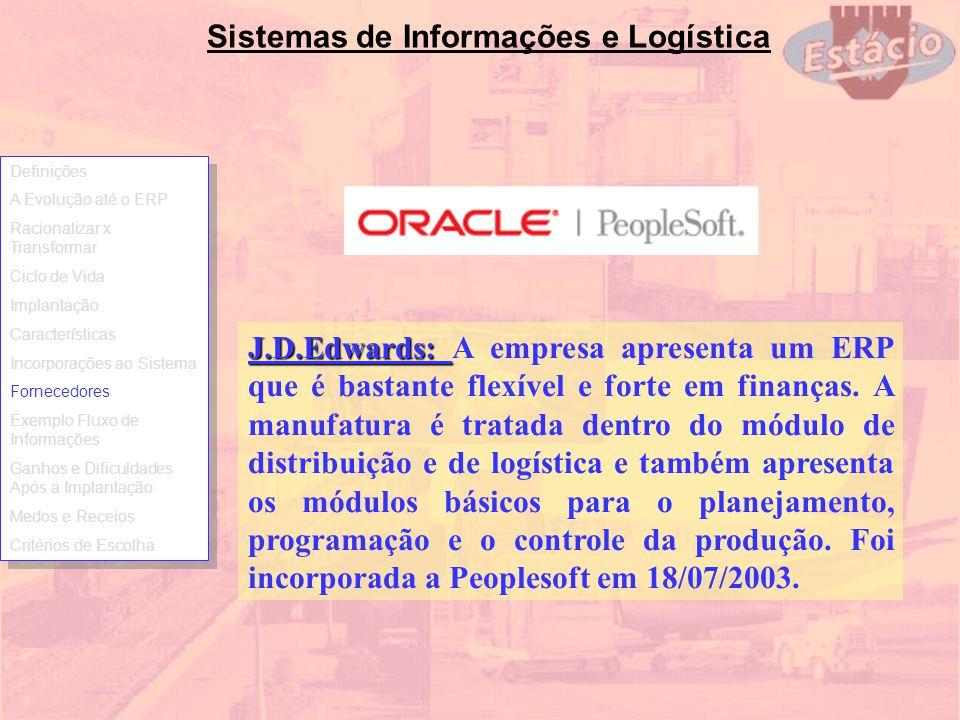 Sistemas de Informações e Logística J.D.Edwards: J.D.Edwards: A empresa apresenta um ERP que é bastante flexível e forte em finanças. A manufatura é t