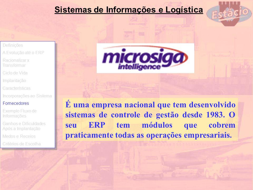 Sistemas de Informações e Logística É uma empresa nacional que tem desenvolvido sistemas de controle de gestão desde 1983. O seu ERP tem módulos que c