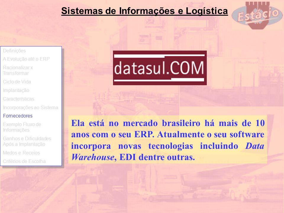 Sistemas de Informações e Logística Ela está no mercado brasileiro há mais de 10 anos com o seu ERP. Atualmente o seu software incorpora novas tecnolo
