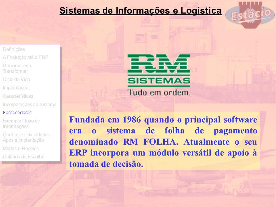 Sistemas de Informações e Logística Fundada em 1986 quando o principal software era o sistema de folha de pagamento denominado RM FOLHA. Atualmente o