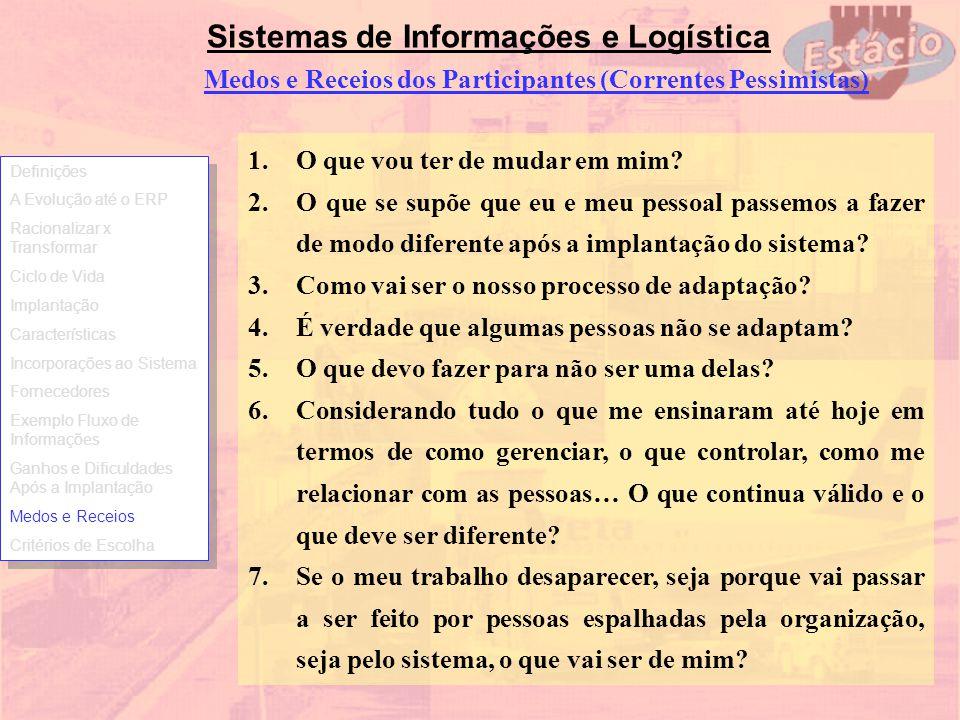 Sistemas de Informações e Logística Medos e Receios dos Participantes (Correntes Pessimistas) 1.O que vou ter de mudar em mim? 2.O que se supõe que eu
