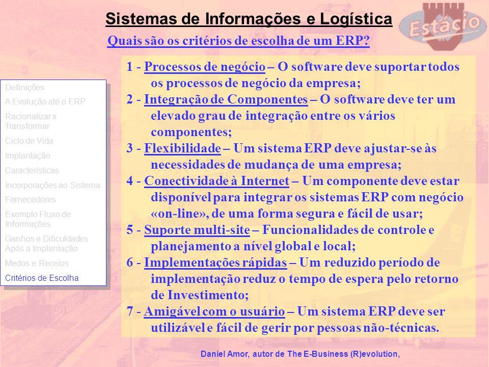 Sistemas de Informações e Logística Quais são os critérios de escolha de um ERP? 1 - Processos de negócio – O software deve suportar todos os processo