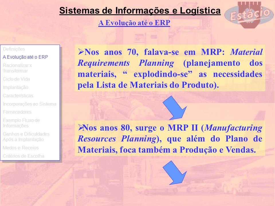 Sistemas de Informações e Logística A Evolução até o ERP Nos anos 70, falava-se em MRP: Material Requirements Planning (planejamento dos materiais, ex