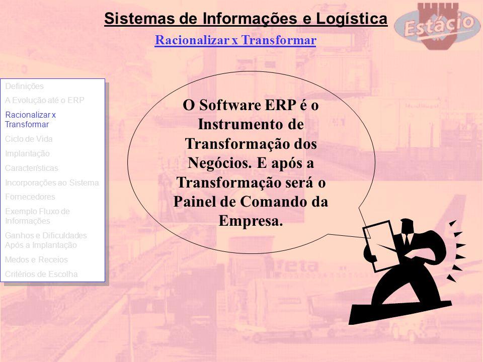 Sistemas de Informações e Logística O Software ERP é o Instrumento de Transformação dos Negócios. E após a Transformação será o Painel de Comando da E