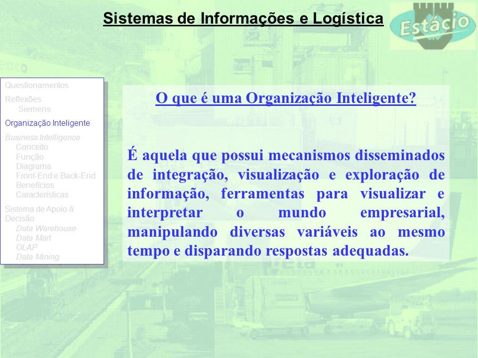 Sistemas de Informações e Logística O que é uma Organização Inteligente? É aquela que possui mecanismos disseminados de integração, visualização e exp