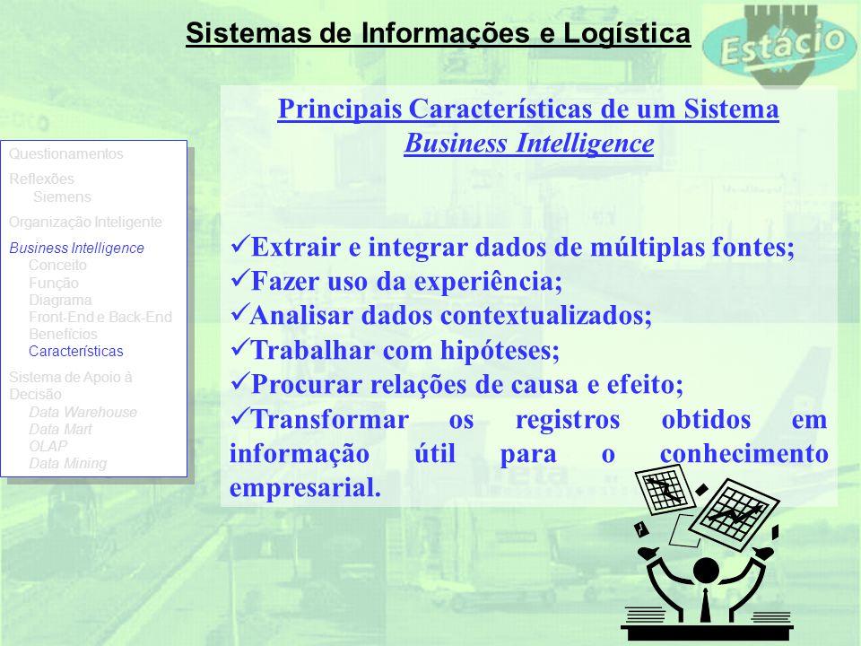Sistemas de Informações e Logística Principais Características de um Sistema Business Intelligence Extrair e integrar dados de múltiplas fontes; Fazer