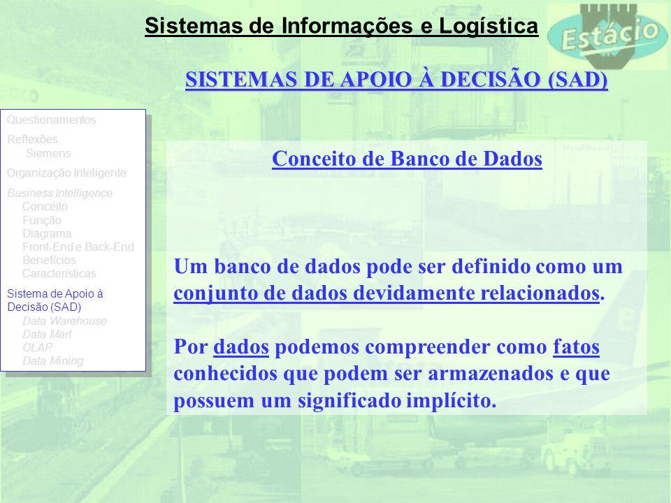 Sistemas de Informações e Logística SISTEMAS DE APOIO À DECISÃO (SAD) Conceito de Banco de Dados Um banco de dados pode ser definido como um conjunto