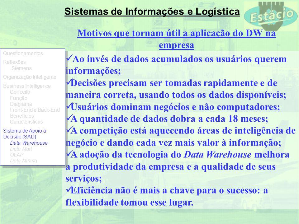 Sistemas de Informações e Logística Motivos que tornam útil a aplicação do DW na empresa Ao invés de dados acumulados os usuários querem informações;