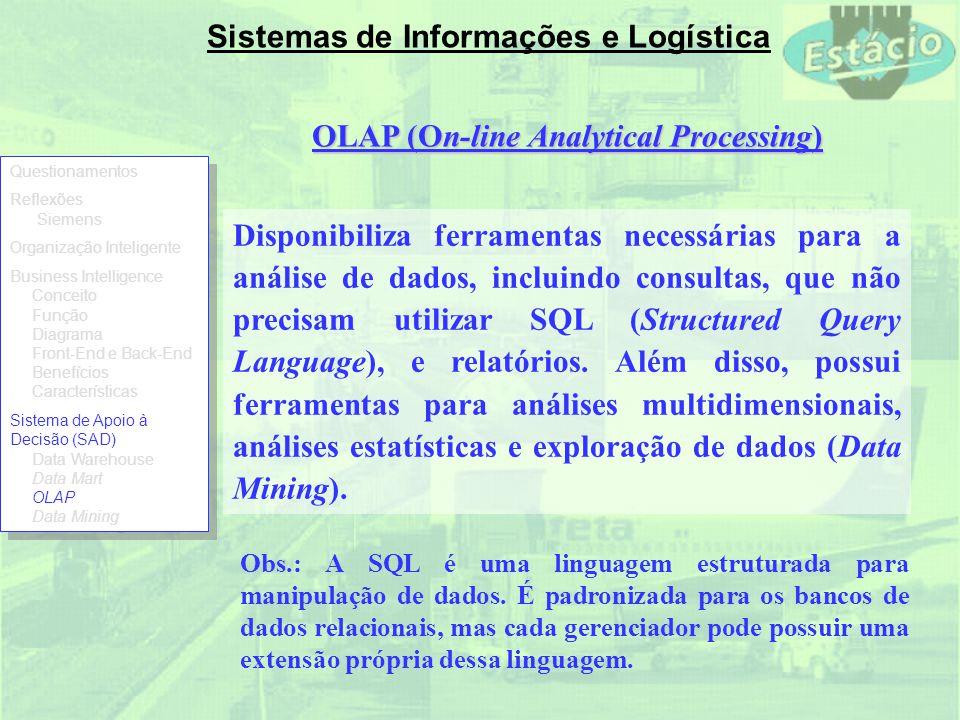 Sistemas de Informações e Logística OLAP (On-line Analytical Processing) Disponibiliza ferramentas necessárias para a análise de dados, incluindo cons