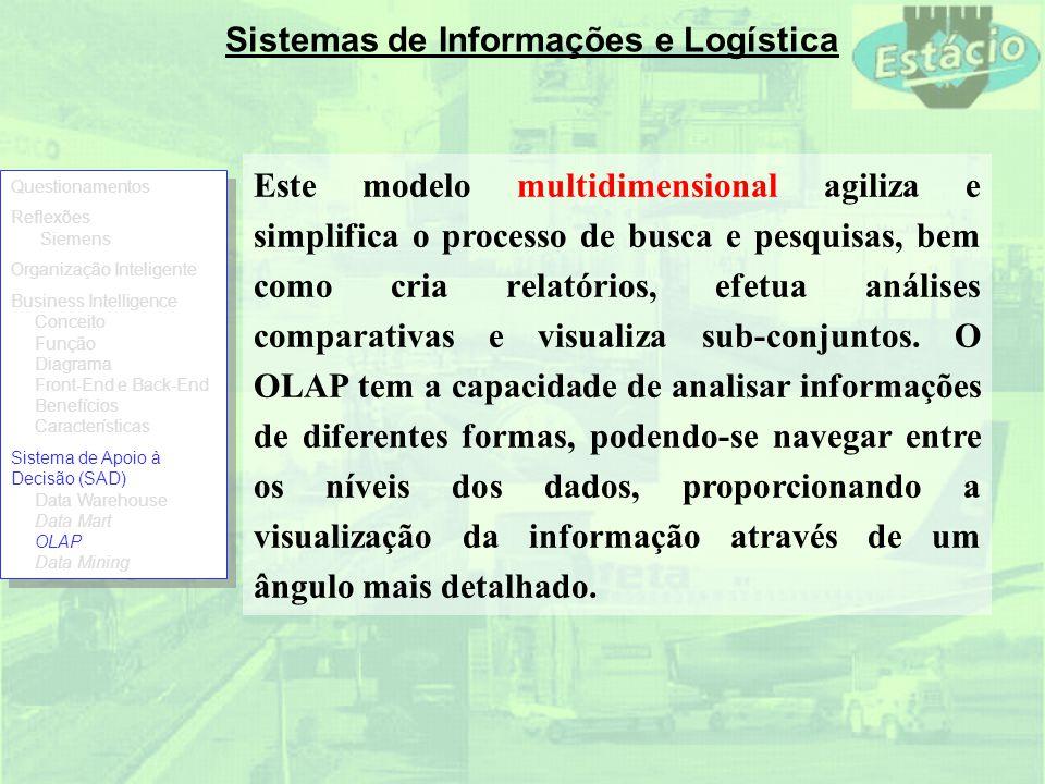 Sistemas de Informações e Logística Este modelo multidimensional agiliza e simplifica o processo de busca e pesquisas, bem como cria relatórios, efetu