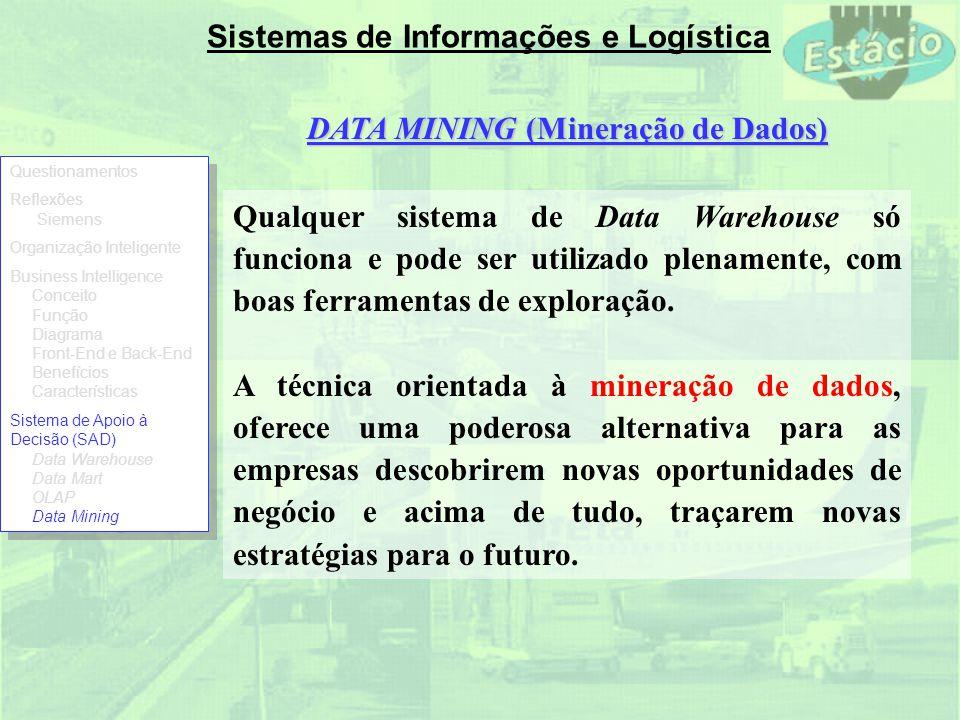 Sistemas de Informações e Logística Qualquer sistema de Data Warehouse só funciona e pode ser utilizado plenamente, com boas ferramentas de exploração