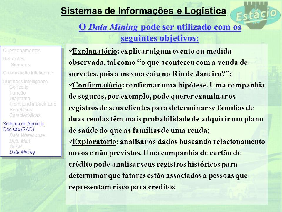 Sistemas de Informações e Logística O Data Mining pode ser utilizado com os seguintes objetivos: Explanatório: explicar algum evento ou medida observa
