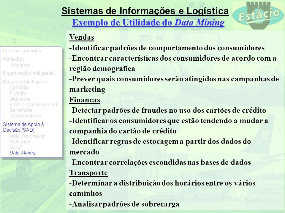 Sistemas de Informações e Logística Exemplo de Utilidade do Data Mining Vendas -Identificar padrões de comportamento dos consumidores -Encontrar carac