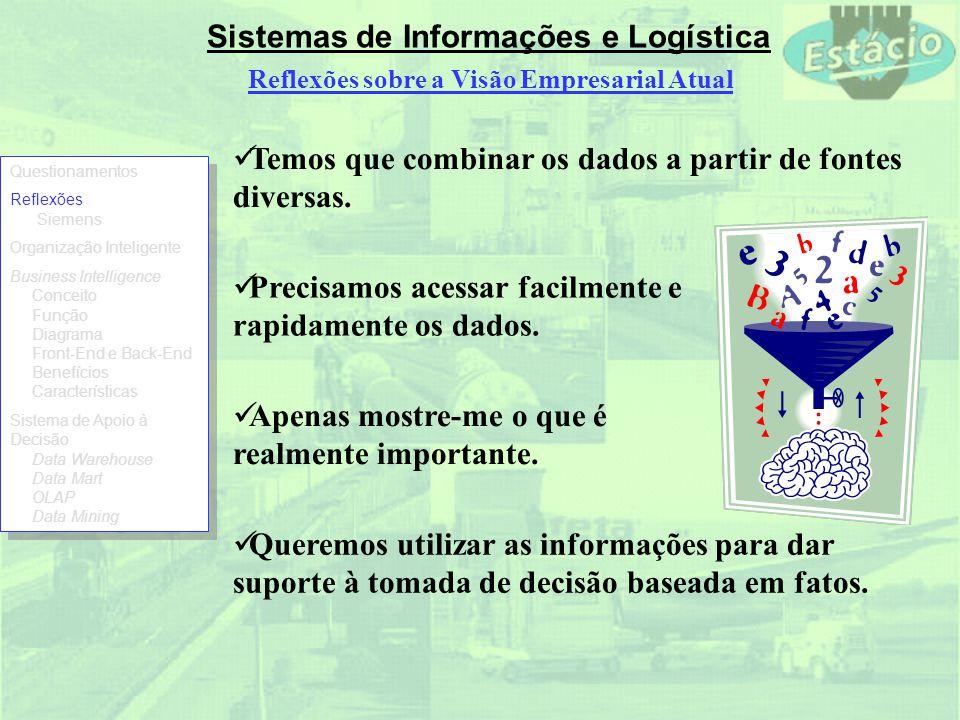 Sistemas de Informações e Logística Temos que combinar os dados a partir de fontes diversas. Precisamos acessar facilmente e rapidamente os dados. Ape