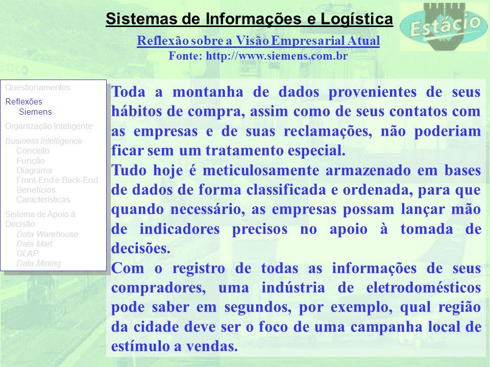 Sistemas de Informações e Logística Essa tecnologia auxilia o usuário a sintetizar informações corporativas por meio de visões comparativas e personalizadas, análises históricas, projeções e elaborações de cenários.