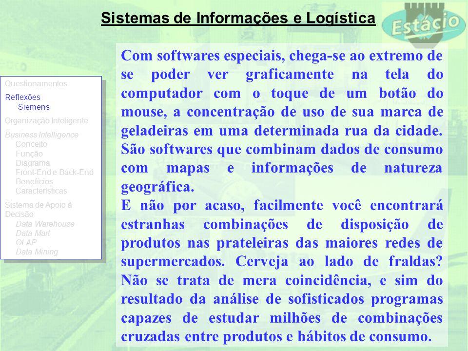 Sistemas de Informações e Logística Com softwares especiais, chega-se ao extremo de se poder ver graficamente na tela do computador com o toque de um