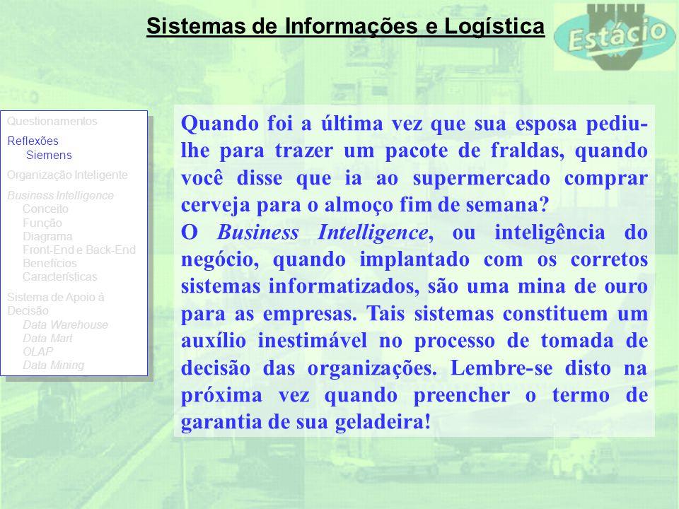 Sistemas de Informações e Logística DW é um banco de dados desenhado para tarefas analíticas usando dados de diferentes aplicações.