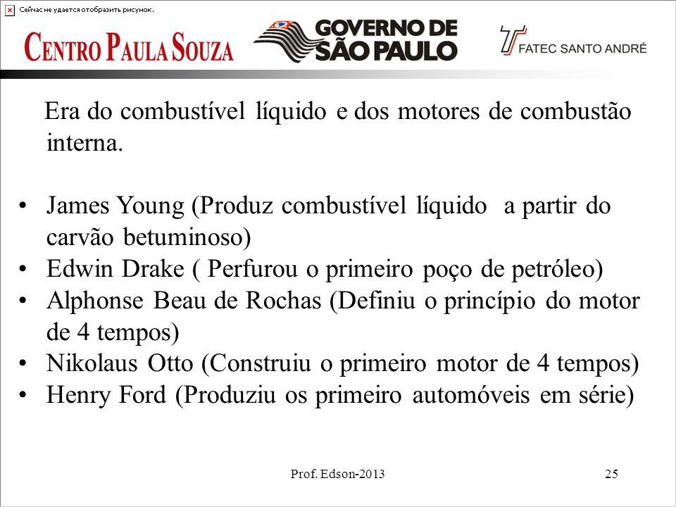 Prof. Edson-201325 Era do combustível líquido e dos motores de combustão interna. James Young (Produz combustível líquido a partir do carvão betuminos