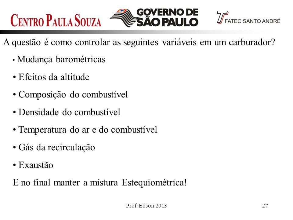 Prof. Edson-201327 A questão é como controlar as seguintes variáveis em um carburador? Mudança barométricas Efeitos da altitude Composição do combustí