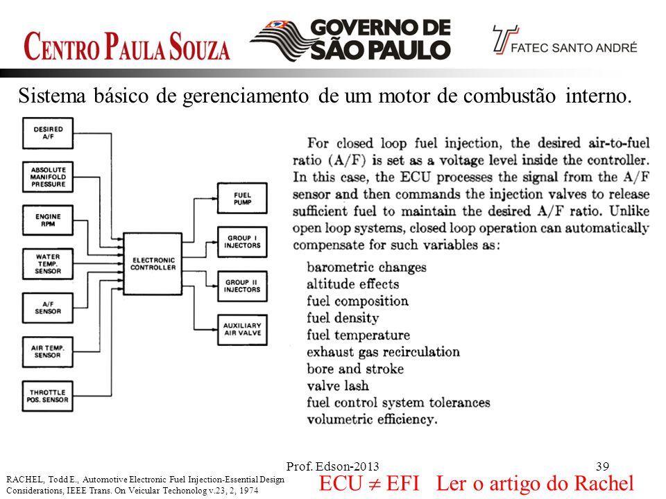 Prof. Edson-201339 Sistema básico de gerenciamento de um motor de combustão interno. RACHEL, Todd E., Automotive Electronic Fuel Injection-Essential D