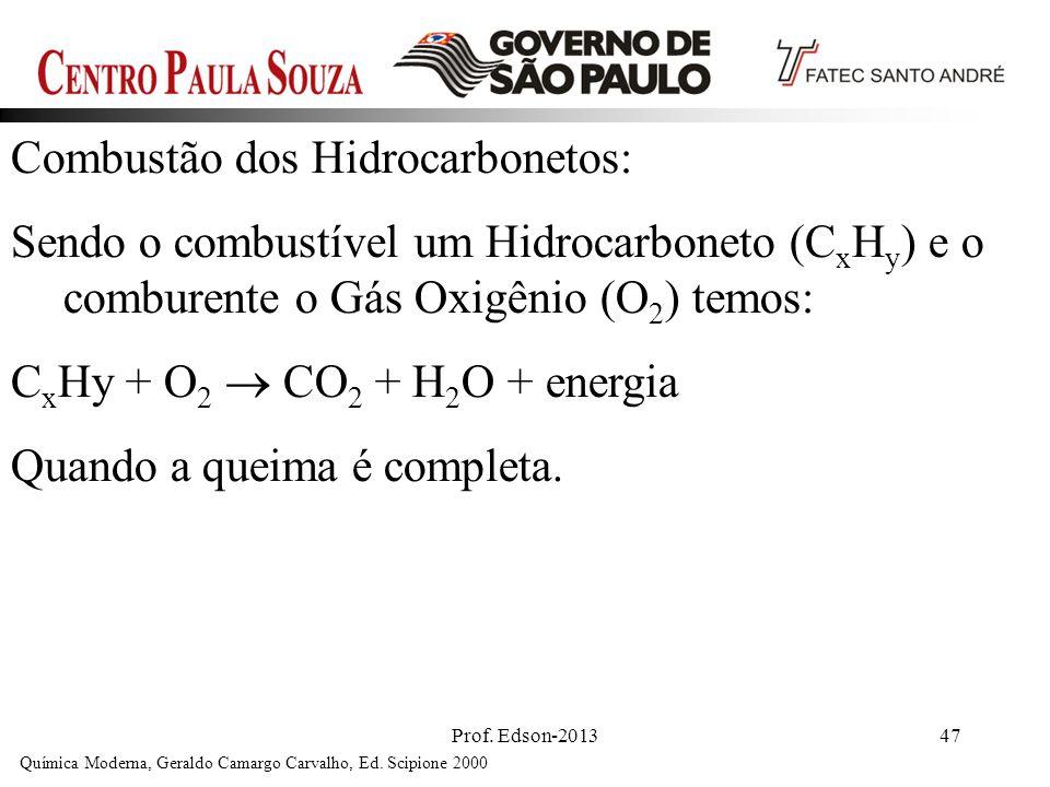 Prof. Edson-201347 Combustão dos Hidrocarbonetos: Sendo o combustível um Hidrocarboneto (C x H y ) e o comburente o Gás Oxigênio (O 2 ) temos: C x Hy