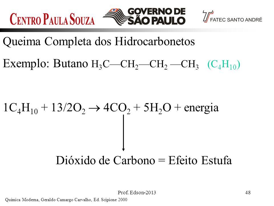Prof. Edson-201348 Queima Completa dos Hidrocarbonetos Exemplo: Butano H 3 CCH 2 CH 2 CH 3 (C 4 H 10 ) 1C 4 H 10 + 13/2O 2 4CO 2 + 5H 2 O + energia Qu