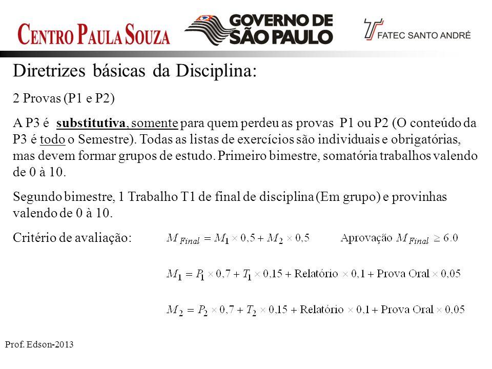Prof. Edson-2013 Diretrizes básicas da Disciplina: 2 Provas (P1 e P2) A P3 é substitutiva, somente para quem perdeu as provas P1 ou P2 (O conteúdo da